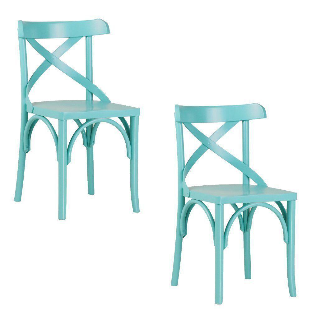 Kit 2 Cadeiras Decorativas Crift Turquesa - Gran Belo