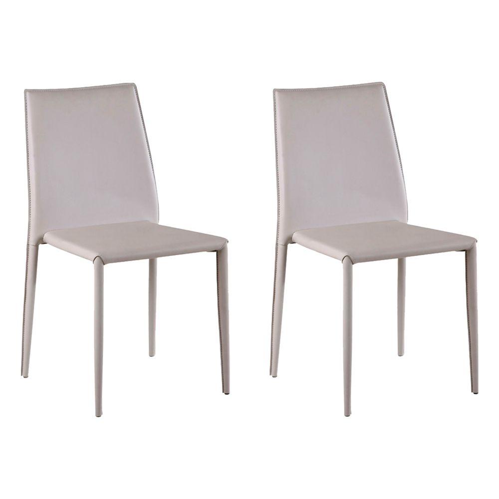 Kit 2 Cadeiras Decorativas Sala e Cozinha Karma PVC Nude - Gran Belo