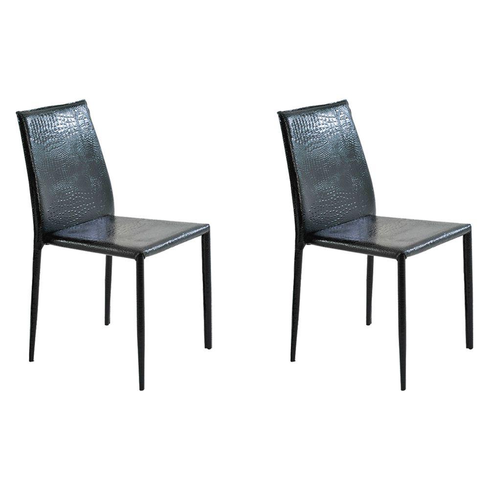 Kit 2 Cadeiras Decorativas Sala e Cozinha Karma PVC Preta Crocco - Gran Belo