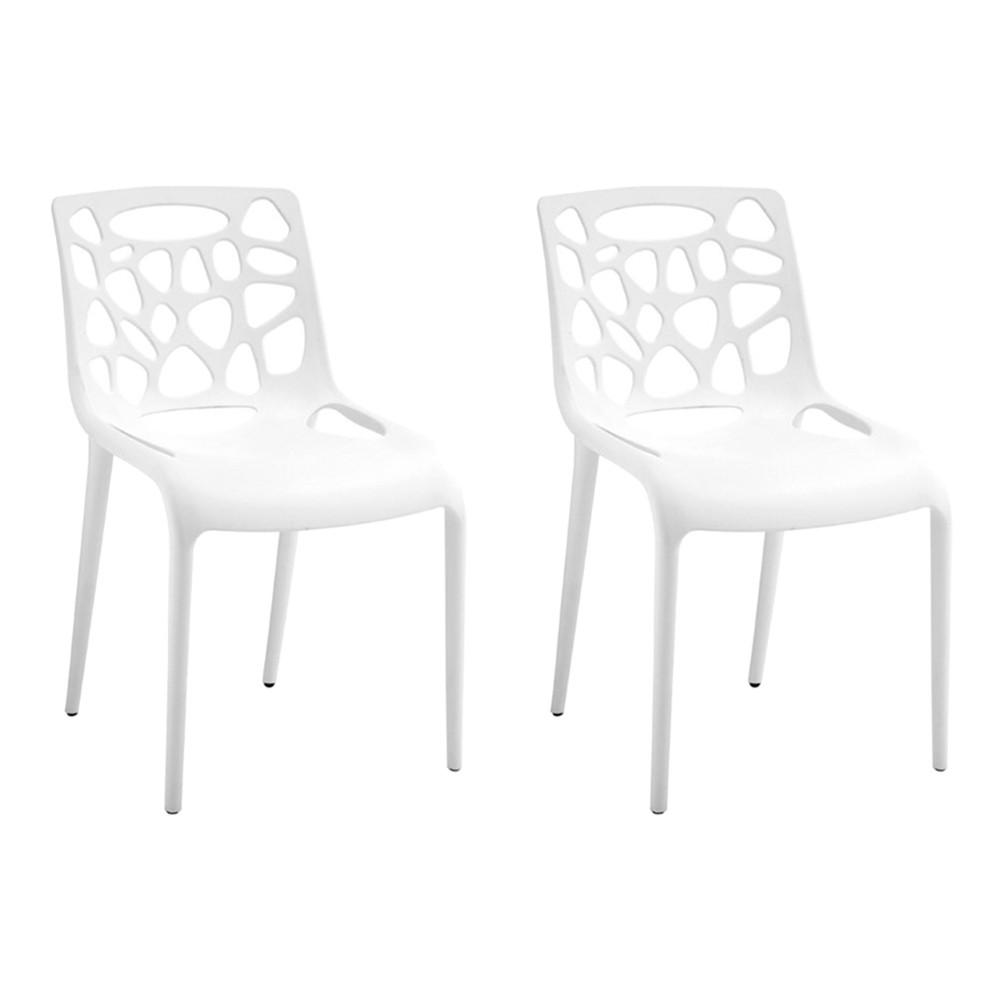 Kit 2 Cadeiras Decorativas Sala e Cozinha Lalunna (PP) Branco - Gran Belo