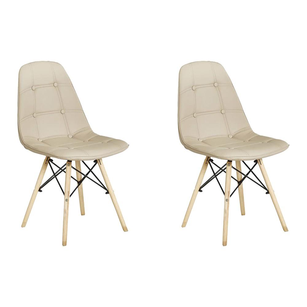 Kit 2 Cadeiras Decorativas Sala e Escritório Cadenna (PU) Nude - Gran Belo