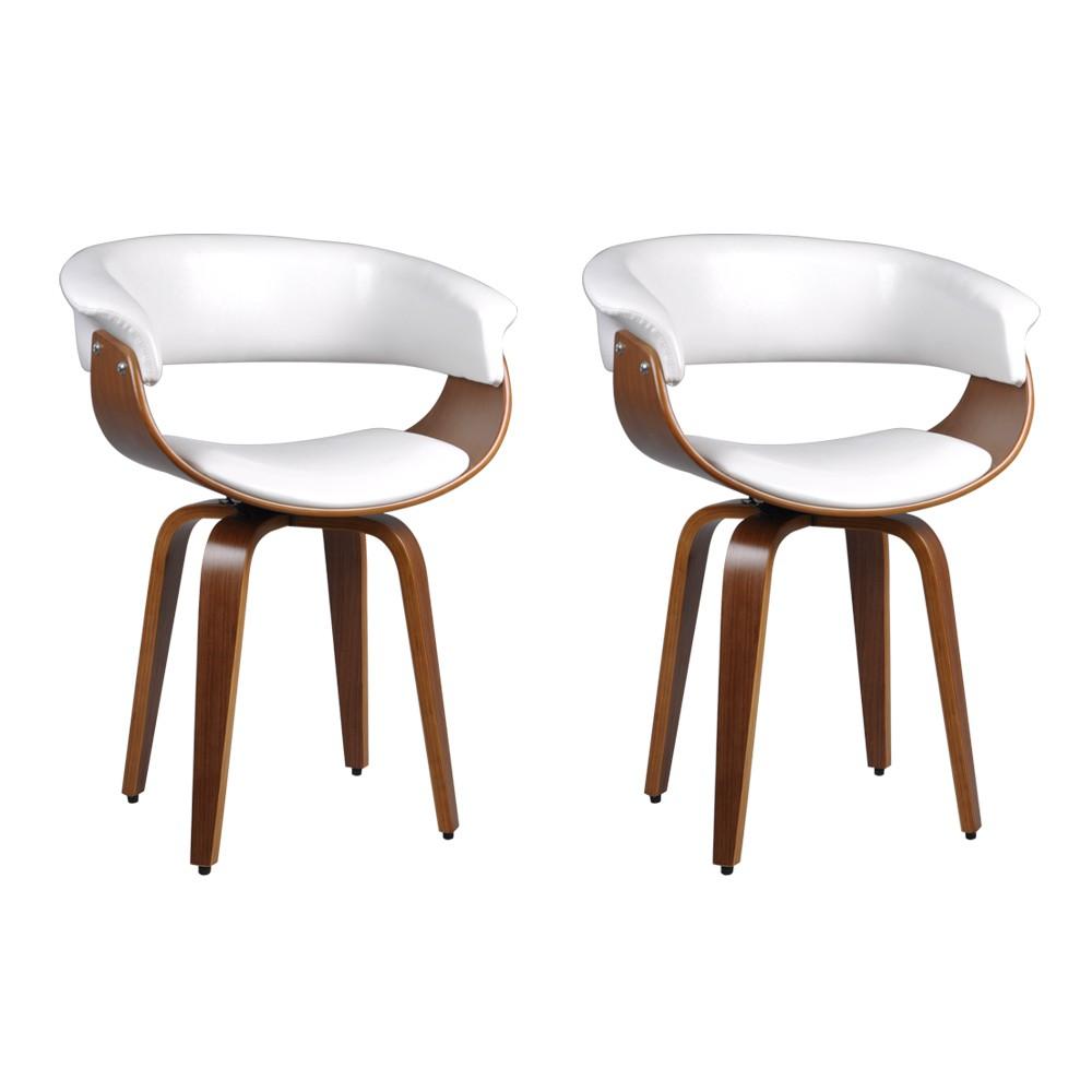 Kit 2 Cadeiras Decorativas Sala e Escritório Legacy Madeira Branca - Gran Belo