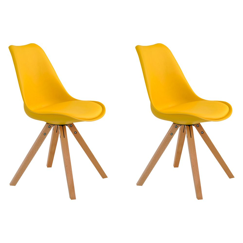Kit 2 Cadeiras Decorativas Sala e Escritório Neo (PP) Amarela– Gran Belo