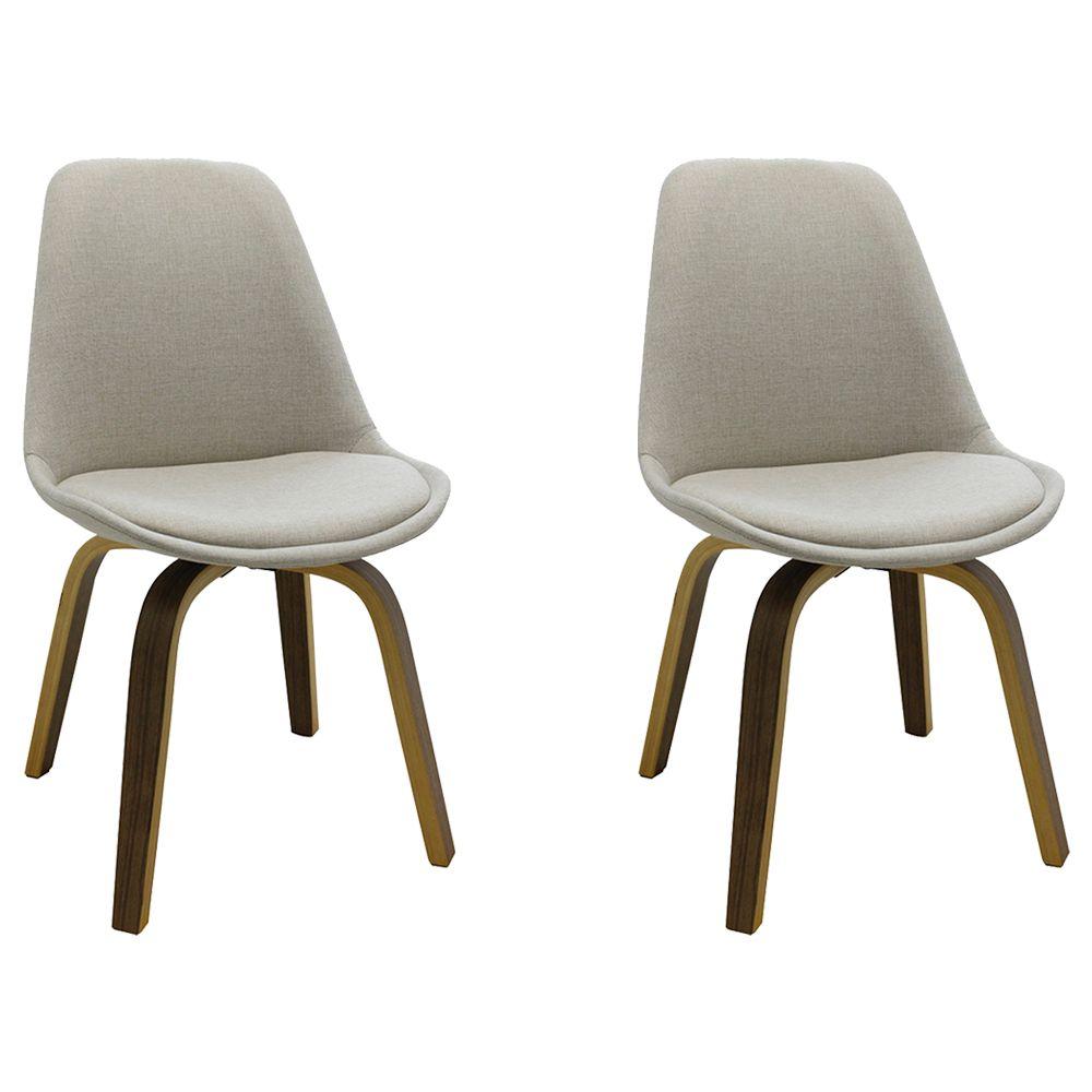 Kit 2 Cadeiras Decorativas Sala e Escritório SoftLine Linho Bege - Gran Belo