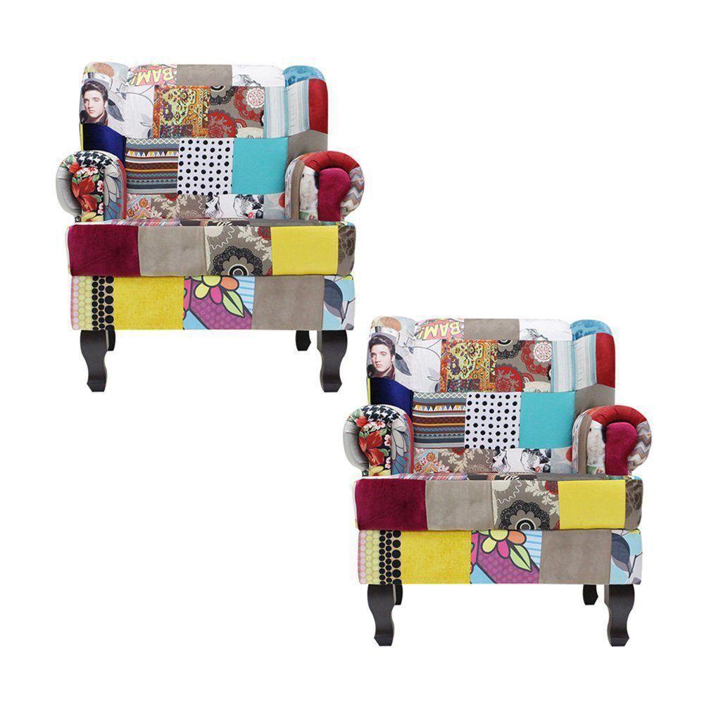 Kit 2 Poltronas Decorativa Jordânia Patchwork - Gran Belo
