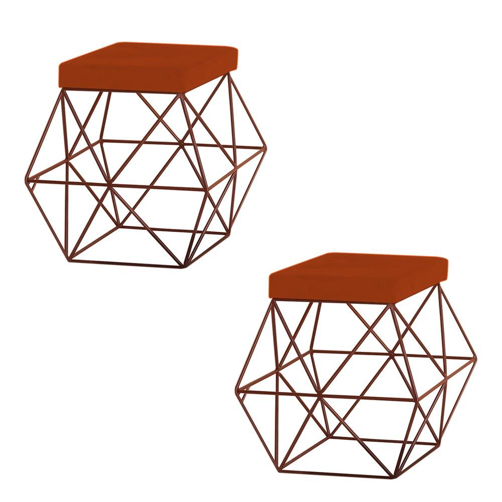 Kit 2 Puffs Decorativo Sala de Estar Base Bronze Trixie Suede Telha - Gran Belo