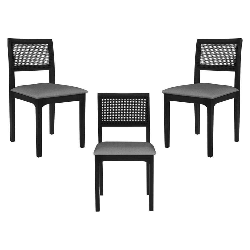 Kit 3 Cadeira Decorativa Sala de Jantar Nivea Ébano - Gran Belo