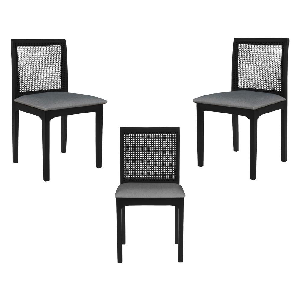 Kit 3 Cadeira Decorativa Sala de Jantar Steve Ébano - Gran Belo