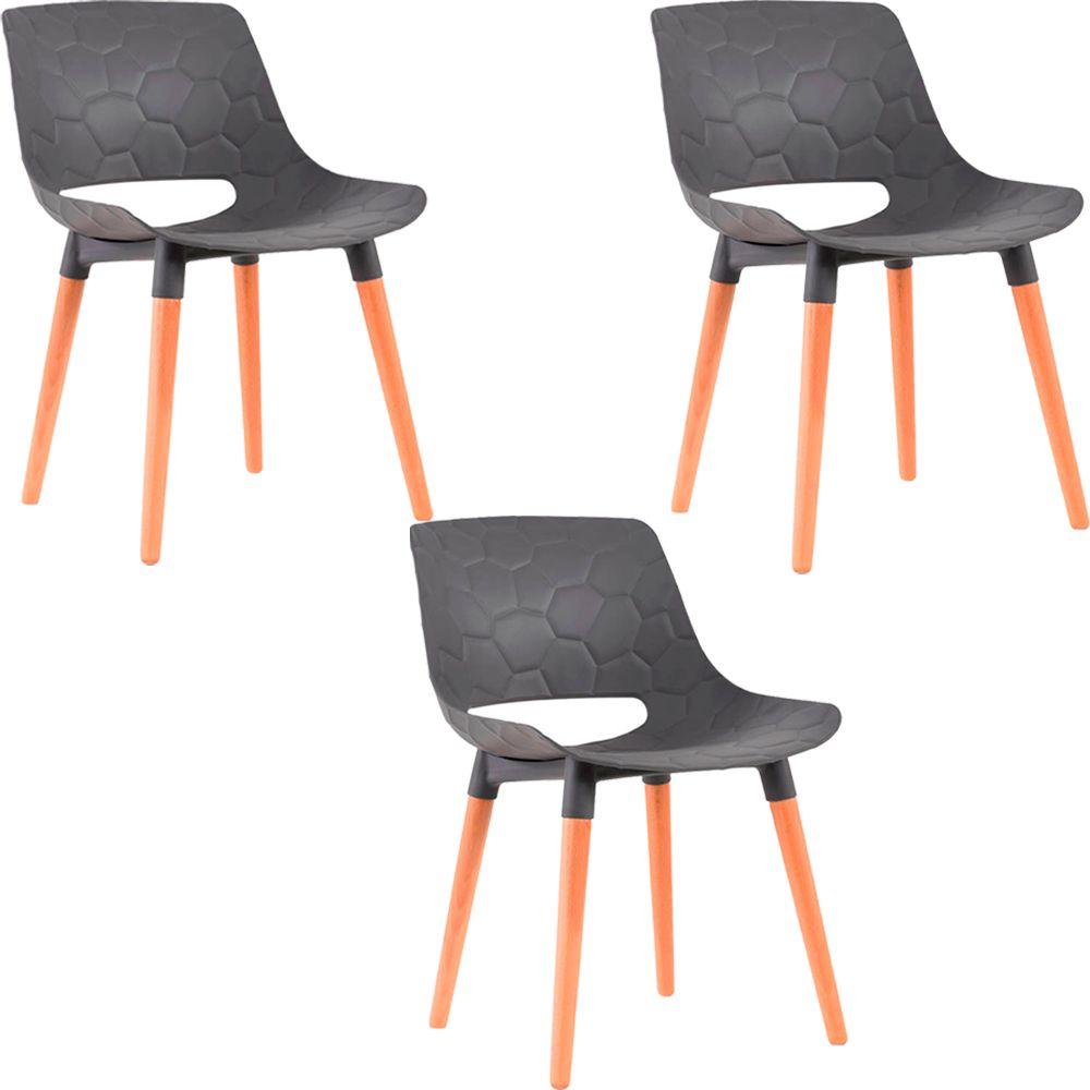 Kit 3 Cadeiras Decorativas Para Salas e Cozinhas LivClean (PP) Cinza - Gran Belo