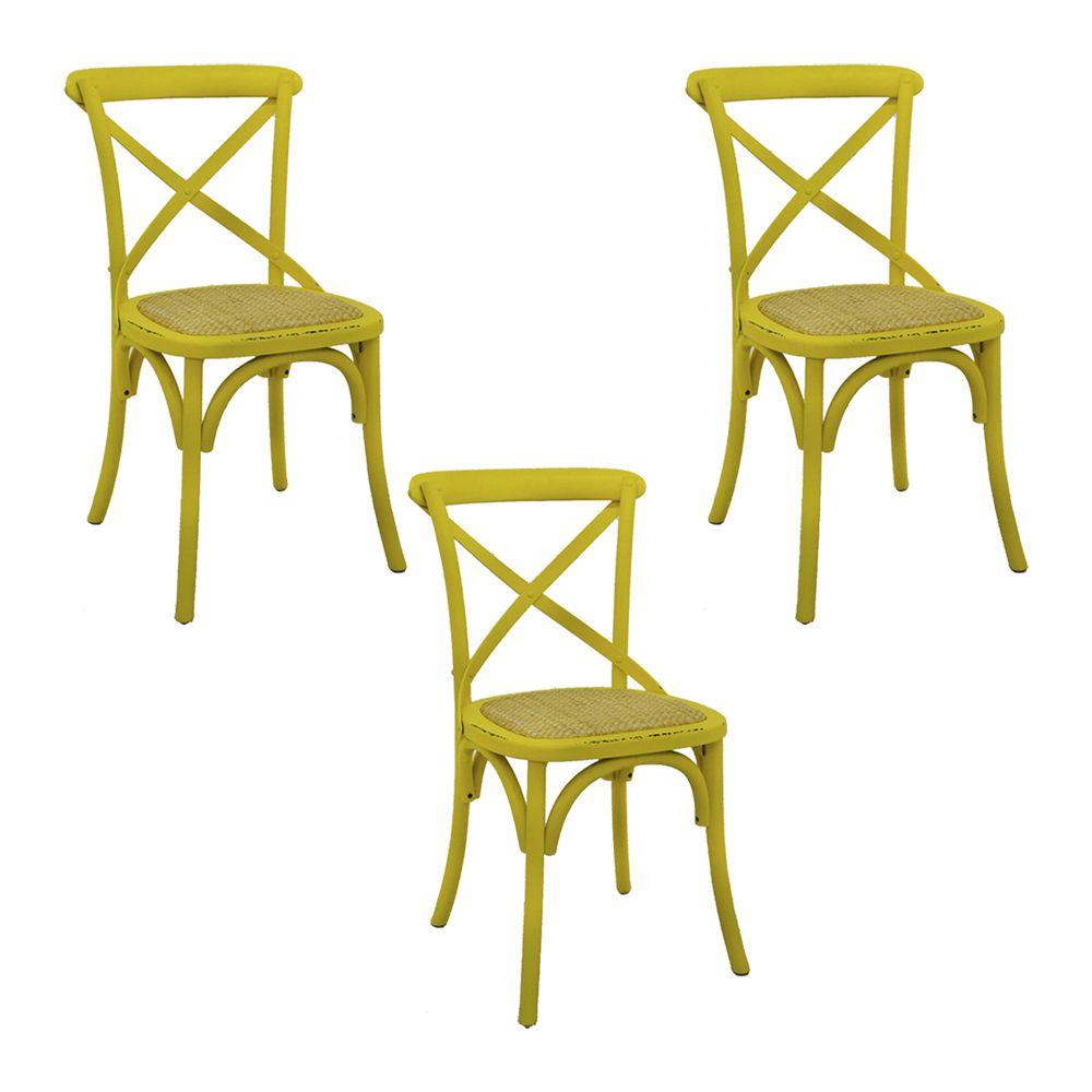 Kit 3 Cadeiras Decorativas Sala De Jantar Cozinha Danna Rattan Natural Amarela - Gran Belo