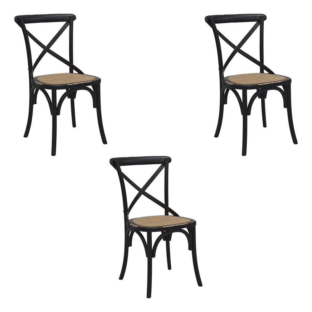 Kit 3 Cadeiras Decorativas Sala De Jantar Cozinha Danna Rattan Natural Preta  - Gran Belo