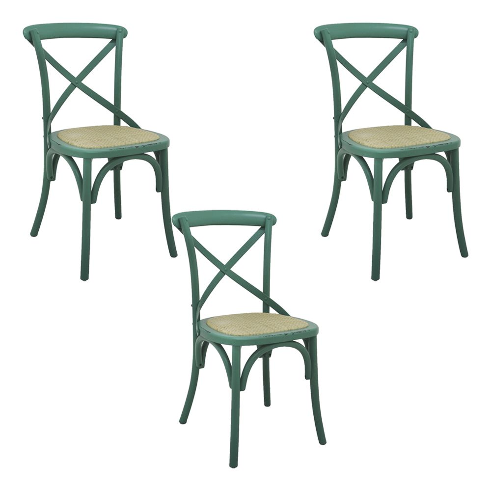 Kit 3 Cadeiras Decorativas Sala De Jantar Cozinha Danna Rattan Natural Verde - Gran Belo