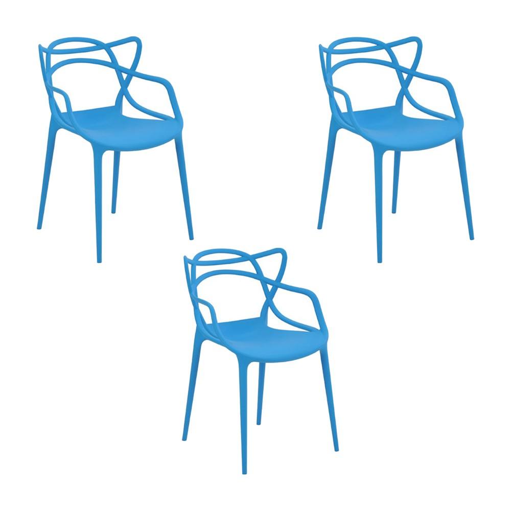 Kit 3 Cadeiras Decorativas Sala e Cozinha Feliti (PP) Azul - Gran Belo