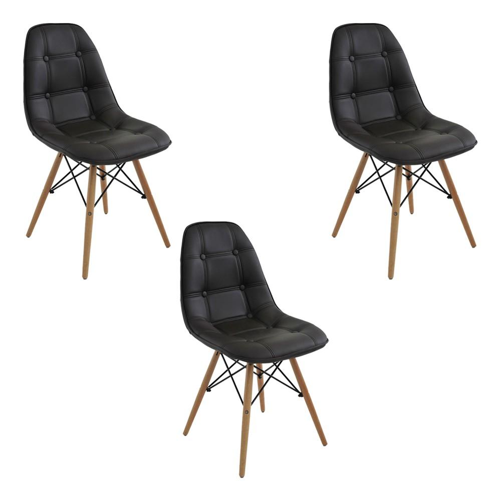 Kit 3 Cadeiras Decorativas Sala e Escritório Cadenna (PU) Café  - Gran Belo