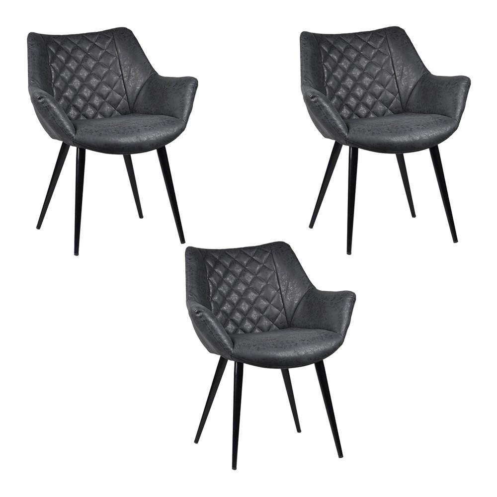 Kit 3 Cadeiras Decorativas Sala e Escritório Mandalla PU Preta - Gran Belo