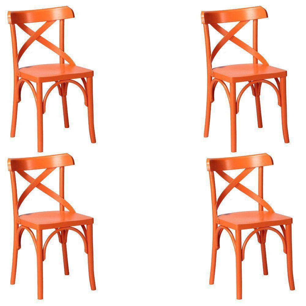 Kit 4 Cadeiras Decorativas Crift Laranja - Gran Belo