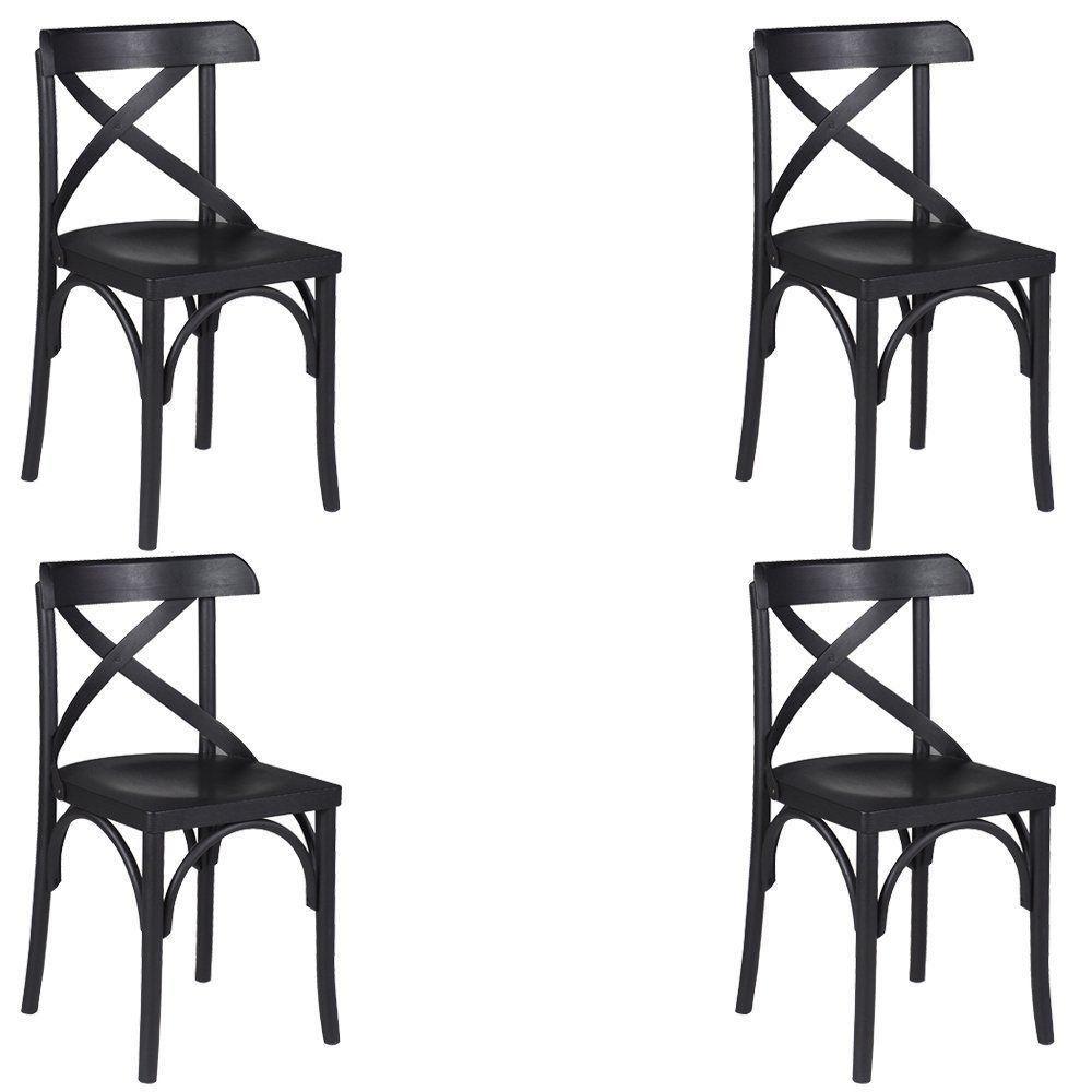 Kit 4 Cadeiras Decorativas Crift Preto - Gran Belo