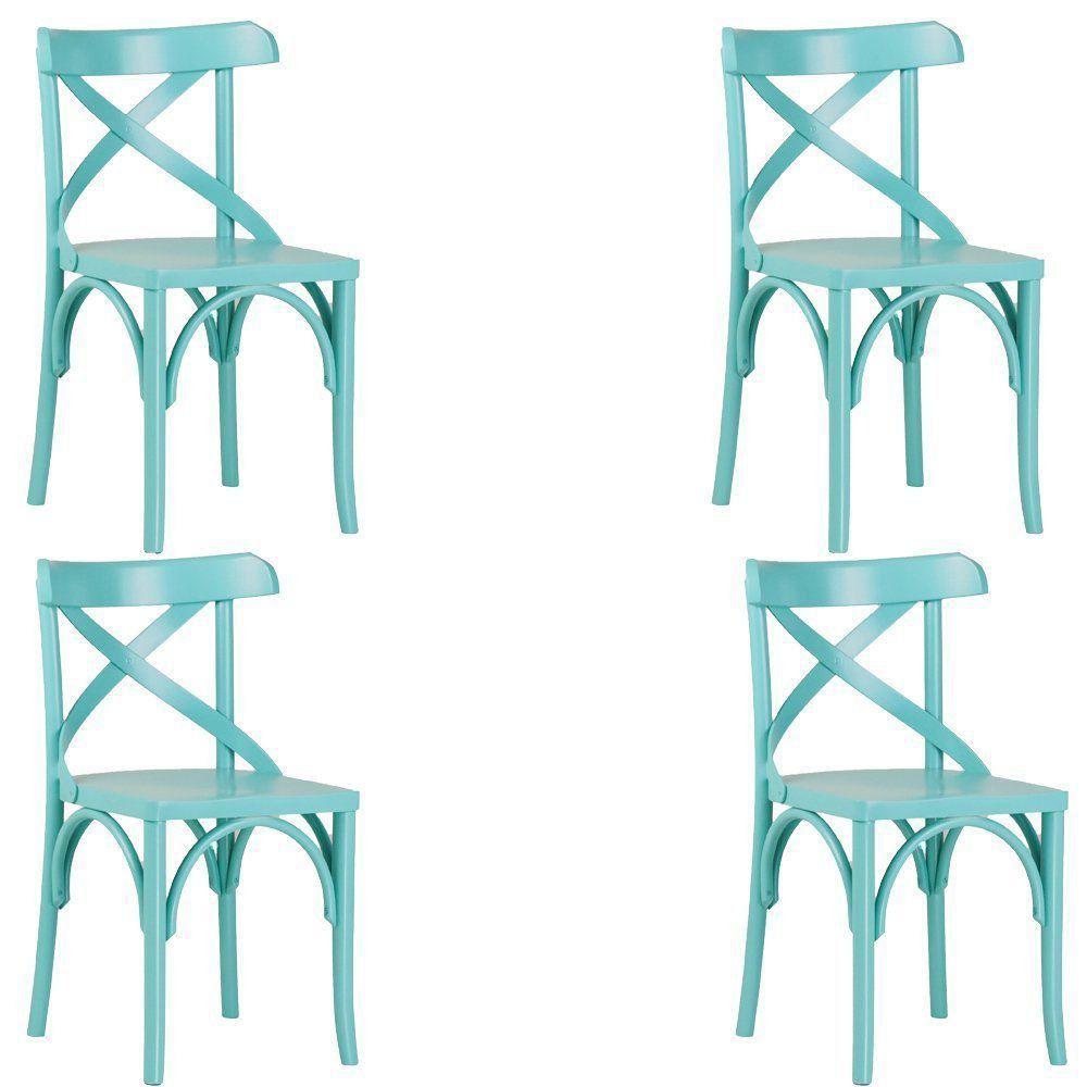 Kit 4 Cadeiras Decorativas Crift Turquesa - Gran Belo