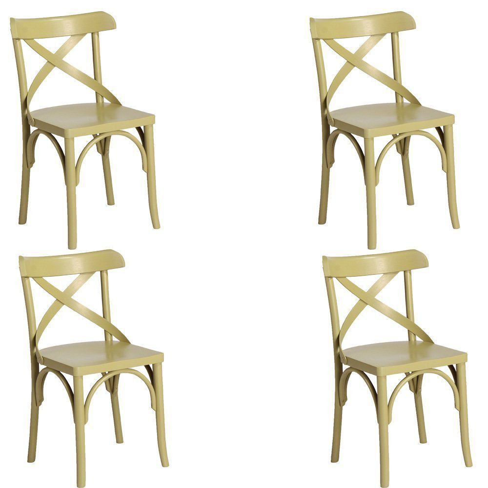 Kit 4 Cadeiras Decorativas Crift Verde - Gran Belo