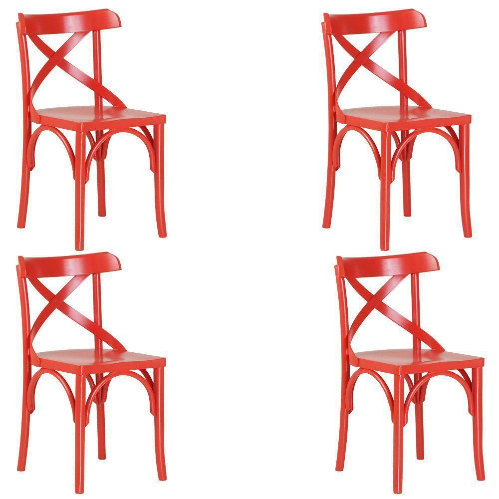 Kit 4 Cadeiras Decorativas Crift Vermelho - Gran Belo