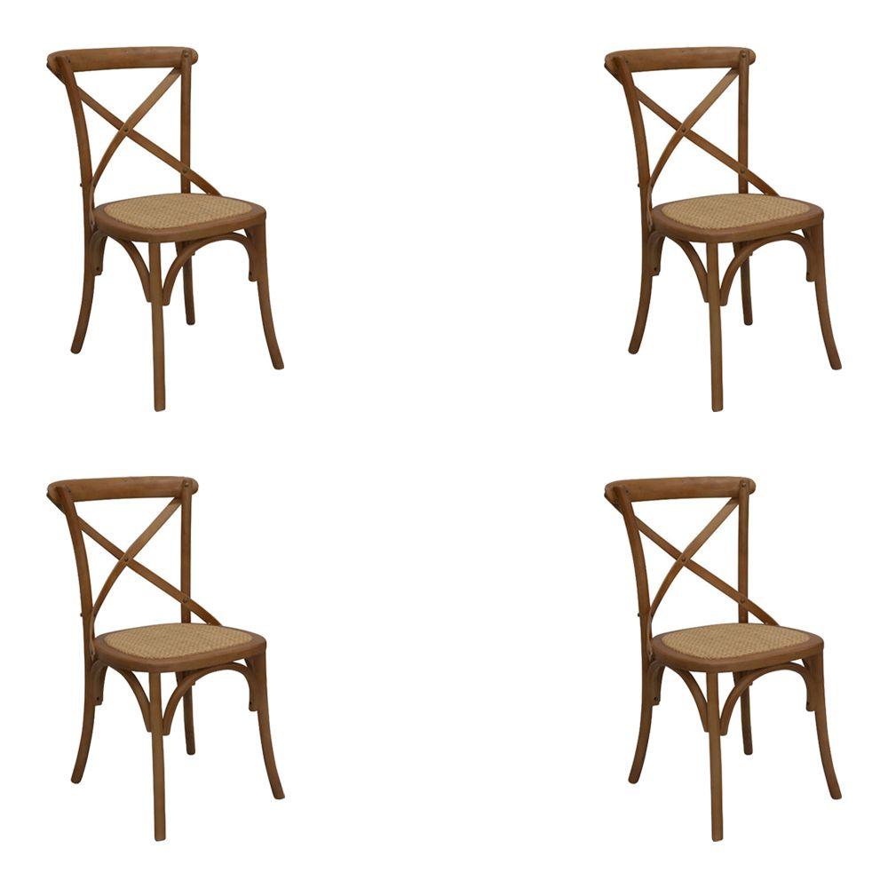 Kit 4 Cadeiras Decorativas Sala De Jantar Cozinha Danna Rattan Natural Bétula- Gran Belo