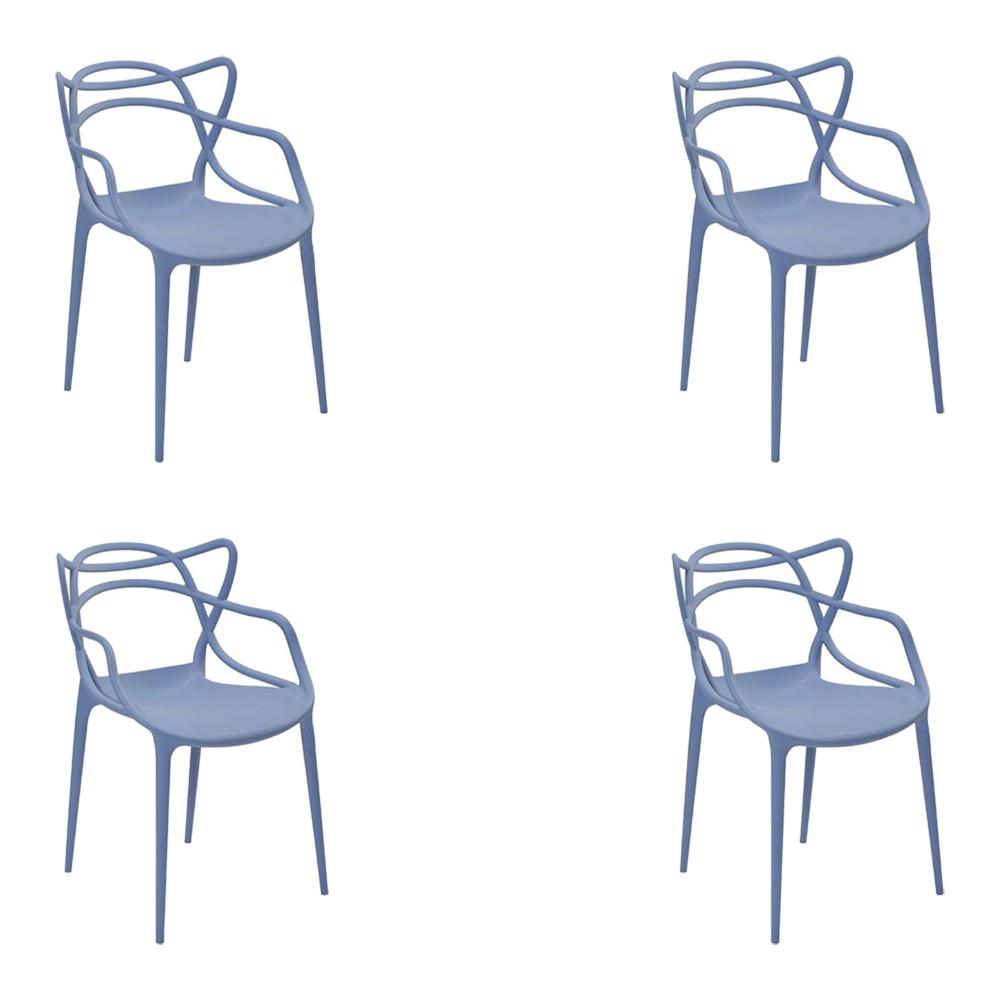 Kit 4 Cadeiras Decorativas Sala e Cozinha Feliti (PP) Azul Caribe - Gran Belo
