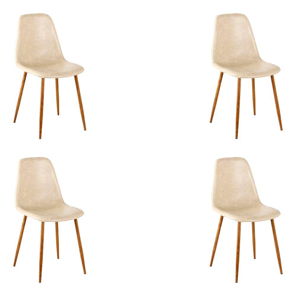 Kit 4 Cadeira Decorativa Sala e Escritório Base Nogueira Emotion PU Bege- Gran Belo