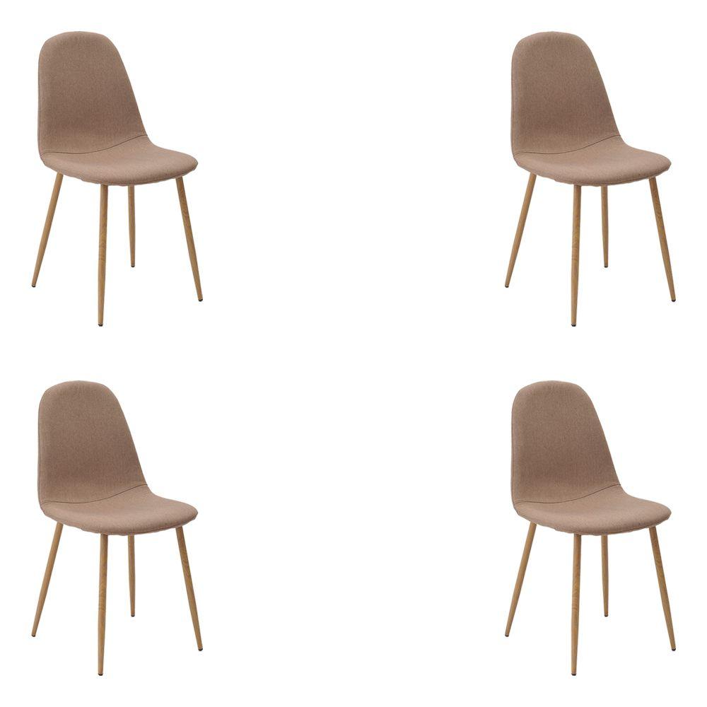 Kit 4 Cadeiras Decorativas Sala e Escritorio Base Clara Emotion Caqui Linho - Gran Belo