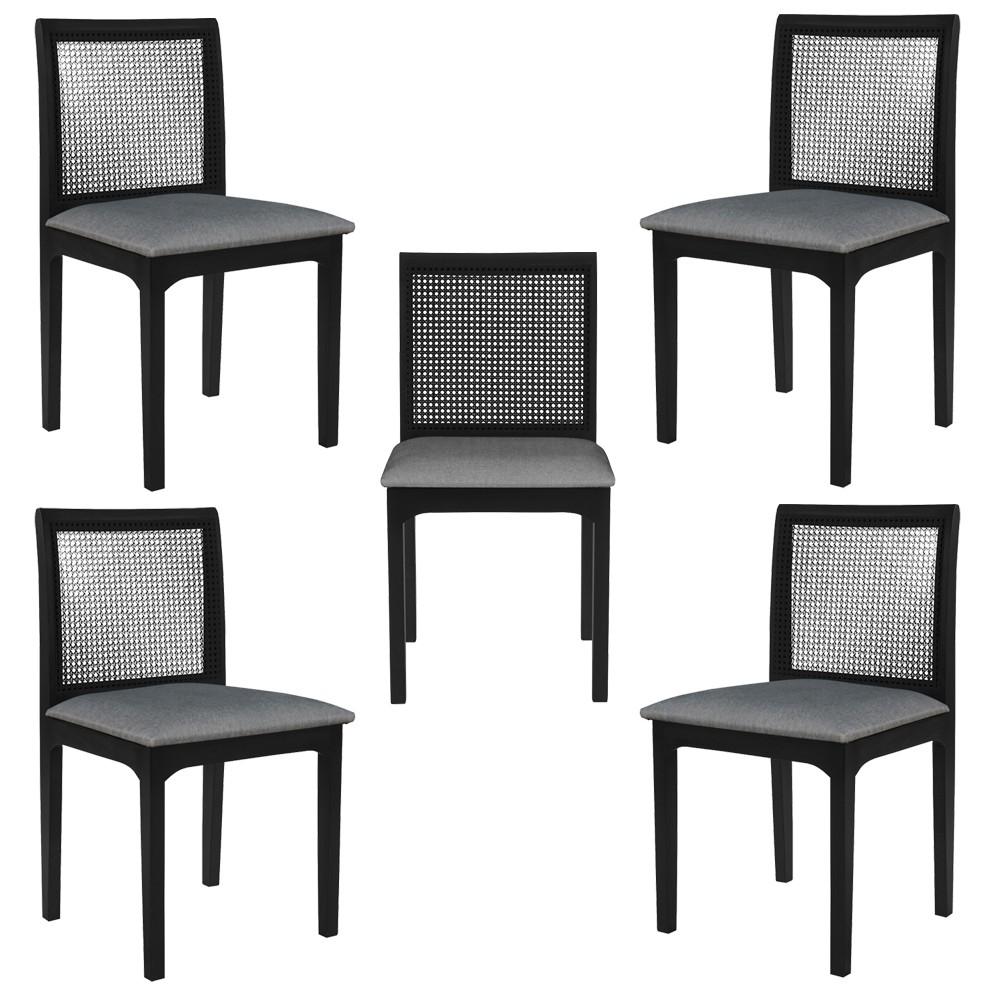 Kit 5 Cadeira Decorativa Sala de Jantar Steve Ébano - Gran Belo