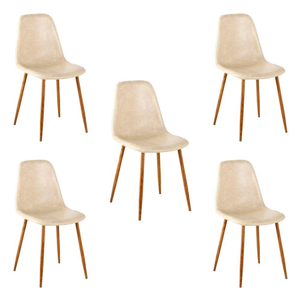 Kit 5 Cadeira Decorativa Sala e Escritório Base Nogueira Emotion PU Bege- Gran Belo