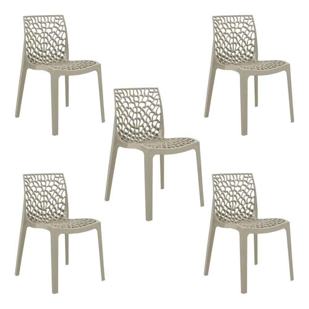 Kit 5 Cadeiras Decorativas Sala e Cozinha Feliti (PP