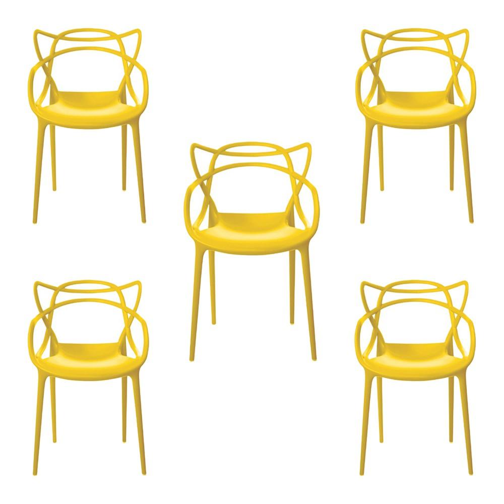 Kit 5 Cadeiras Decorativas Sala e Cozinha Feliti (PP) Azul