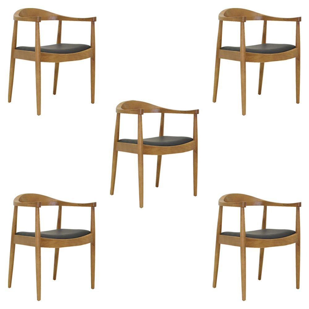 Kit 5 Cadeiras Decorativas Sala e Escritório Colonial Madeira Bege - Gran Belo