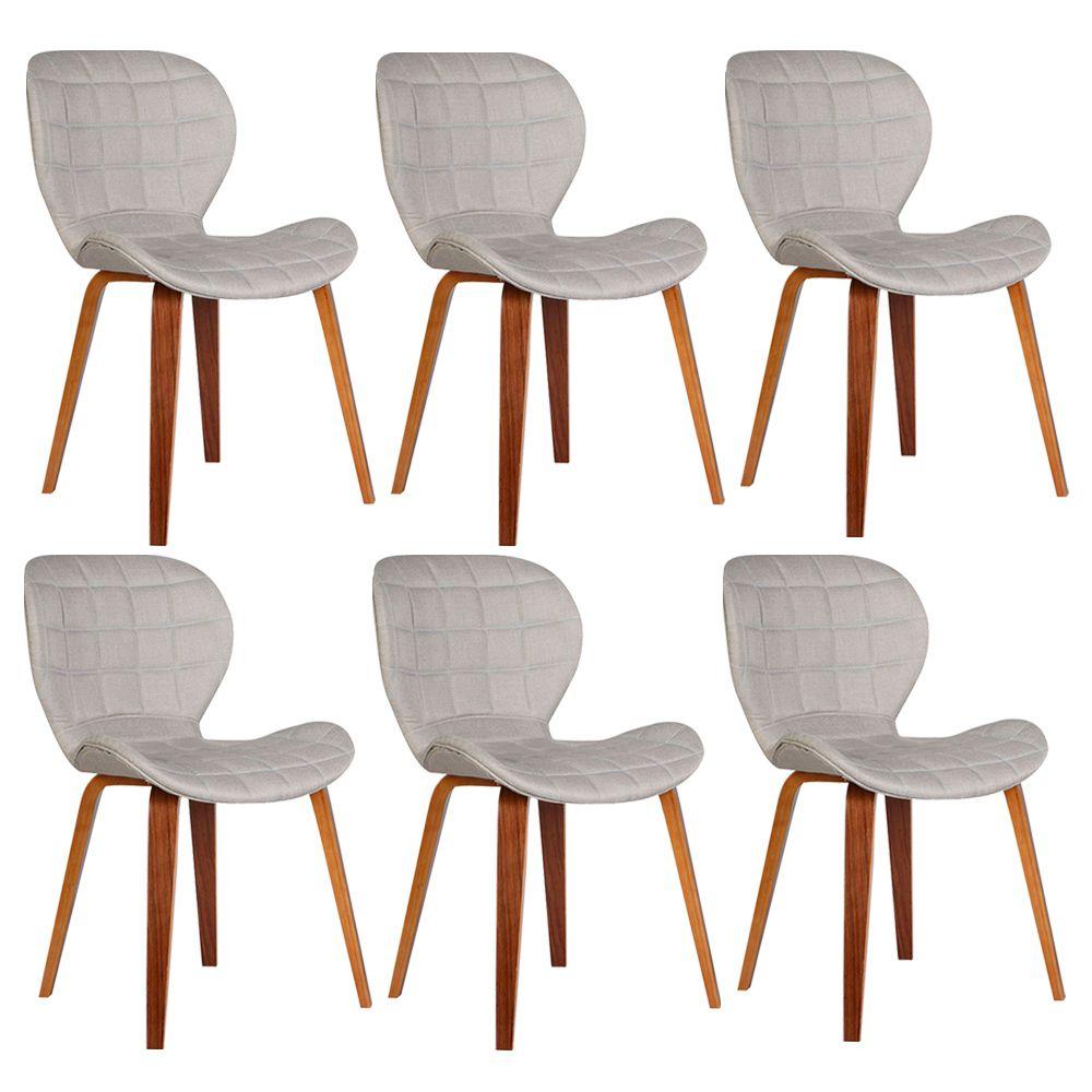 Kit 6 Cadeiras Decorativas de Escritório Recepção GranClass Linho Bege - Gran Belo