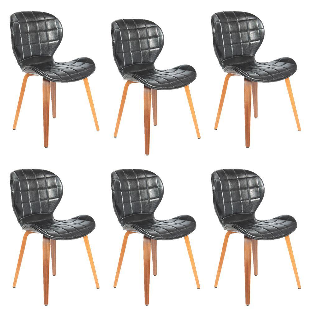 Kit 6 Cadeiras Decorativas de Escritório Recepção GranClass (PU)Preto - Gran Belo