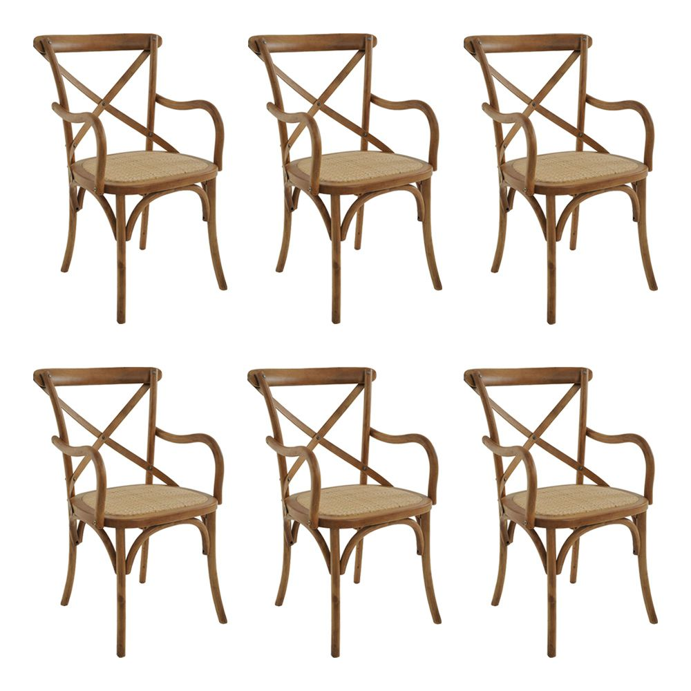 kit 6 Cadeiras Decorativas Sala de Jantar Cozinha Danna com Apoio Rattan Natural Bétula - Gran Belo