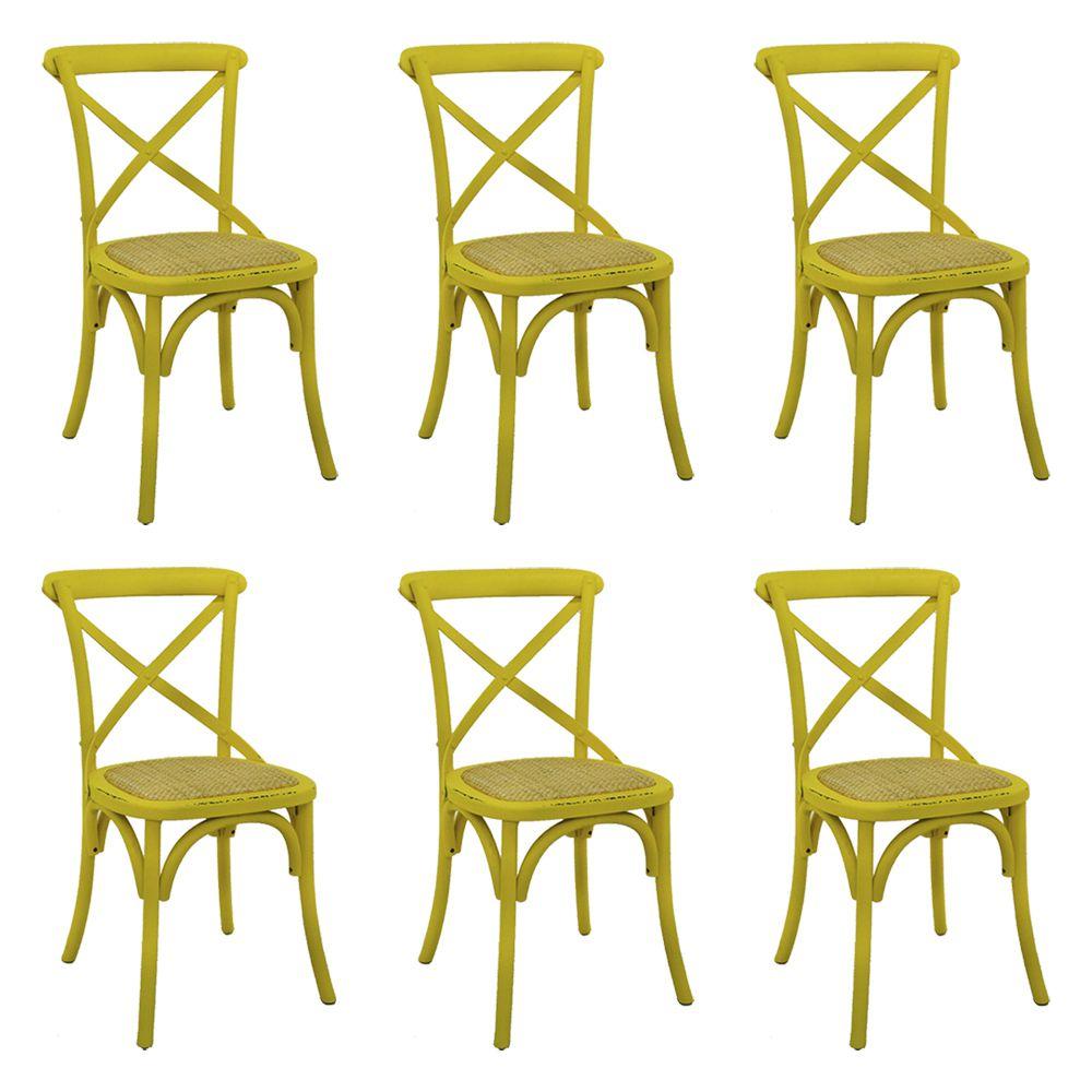 Kit 6 Cadeiras Decorativas Sala De Jantar Cozinha Danna Rattan Natural Amarela - Gran Belo