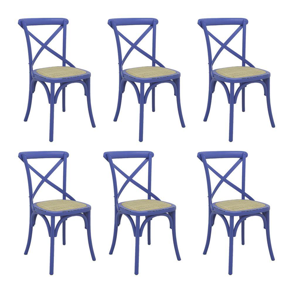 Kit 6 Cadeiras Decorativas Sala De Jantar Cozinha Danna Rattan Natural Azul - Gran Belo