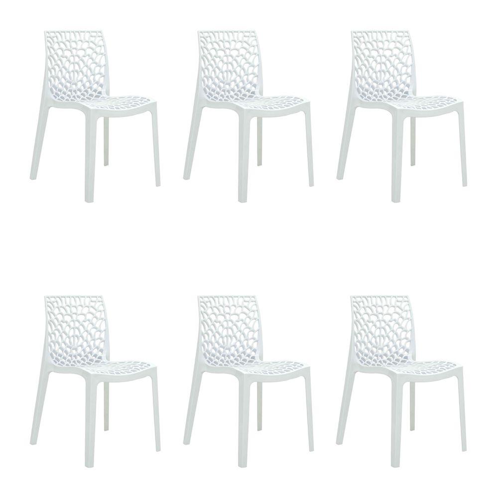 Kit 6 Cadeiras Decorativas Sala e Cozinha Cruzzer (PP) Branca - Gran Belo