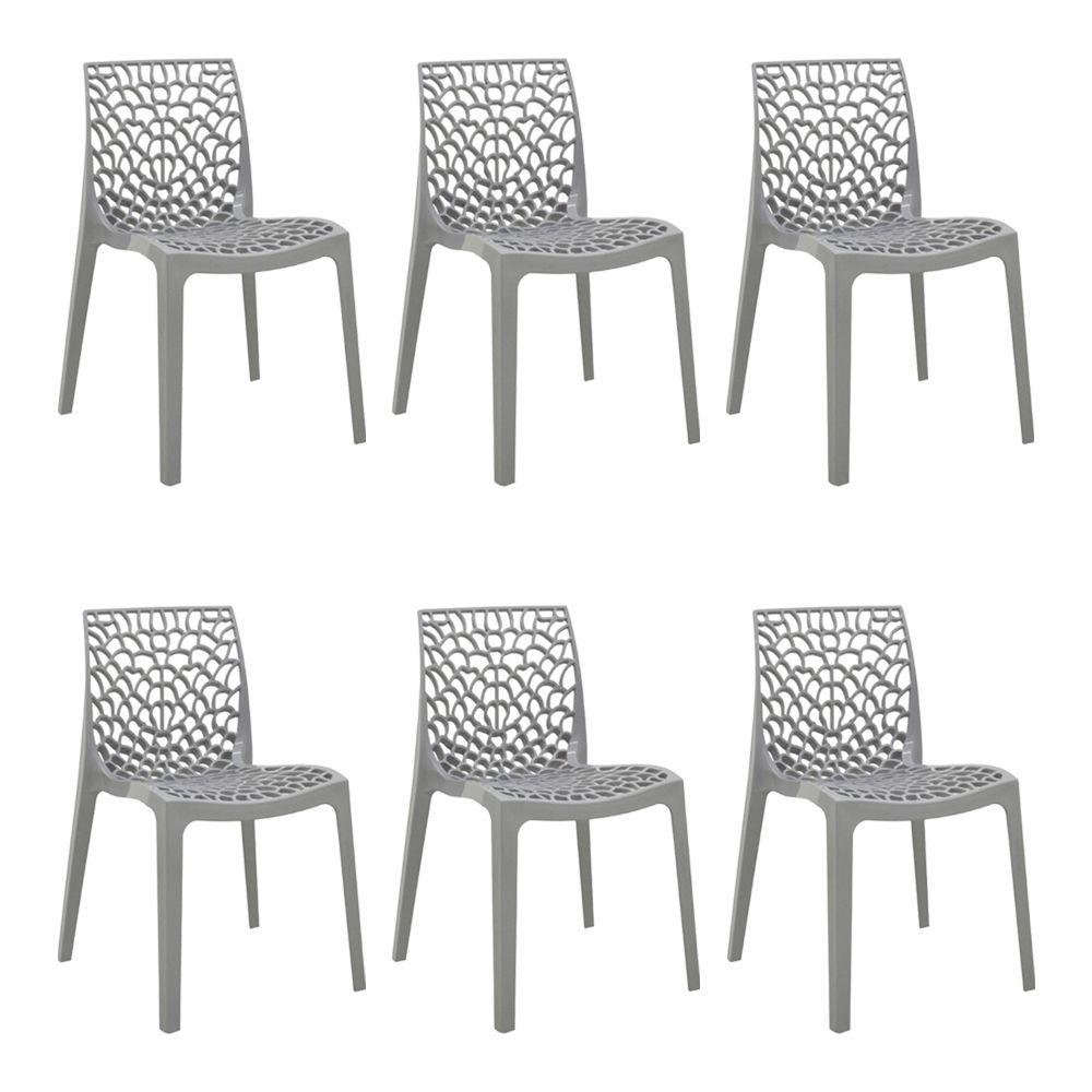 kit 6 Cadeiras Decorativas Sala e Cozinha Cruzzer (PP) Cinza - Gran Belo