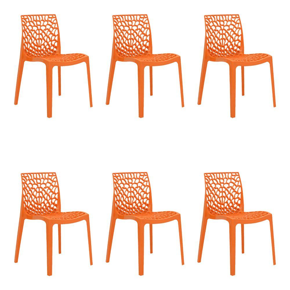 Kit 6 Cadeiras Decorativas Sala e Cozinha Cruzzer (PP) Laranja - Gran Belo