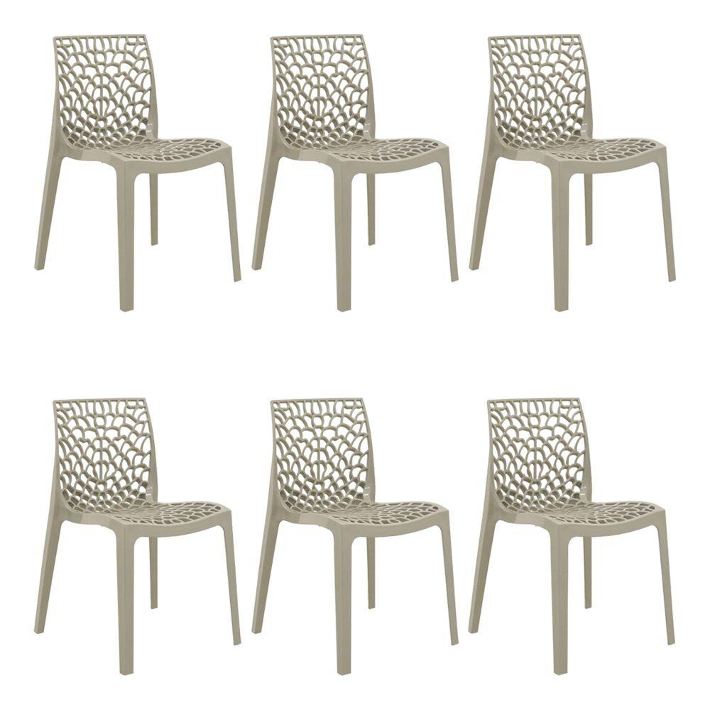 Kit 2 Cadeiras Decorativas Sala e Cozinha Feliti (PP) Nude