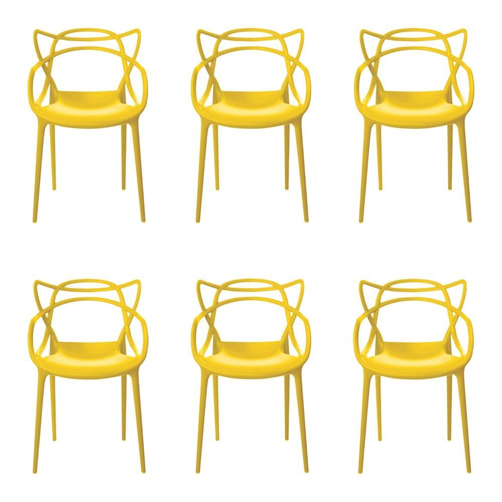 Kit 6 Cadeiras Decorativas Sala e Cozinha Feliti (PP) Amarela - Gran Belo