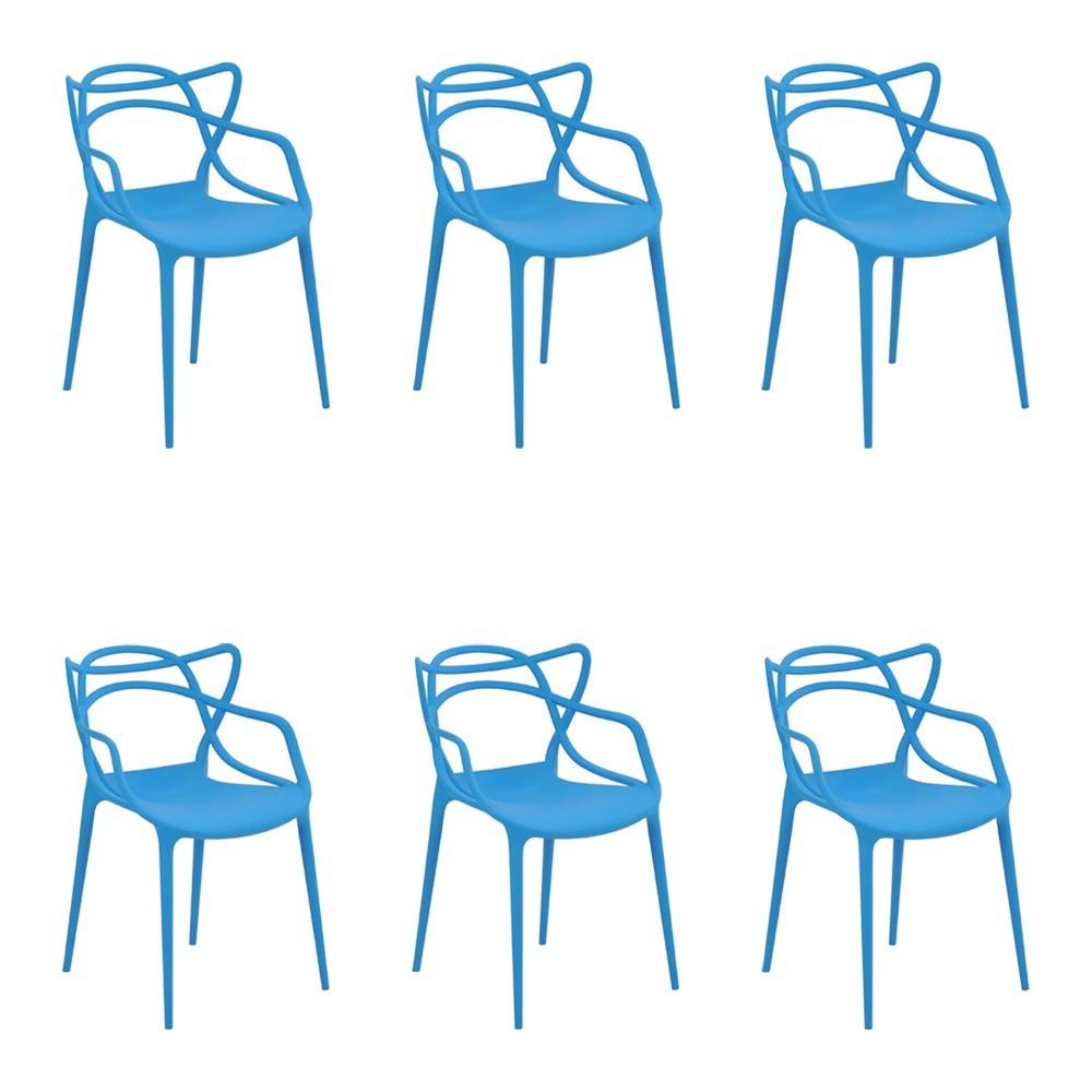 Kit 6 Cadeiras Decorativas Sala e Cozinha Feliti (PP) Azul - Gran Belo