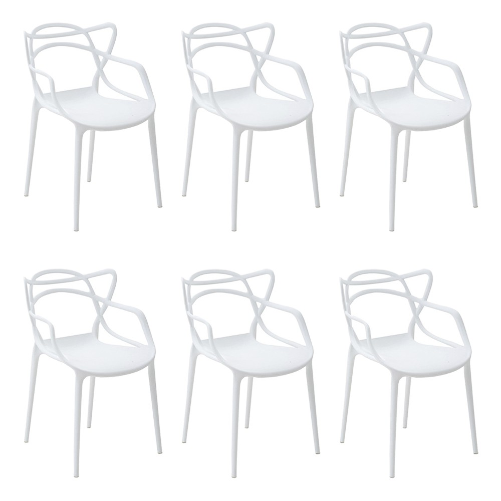 Kit 6 Cadeiras Decorativas Sala e Cozinha Feliti (PP) Branca - Gran Belo