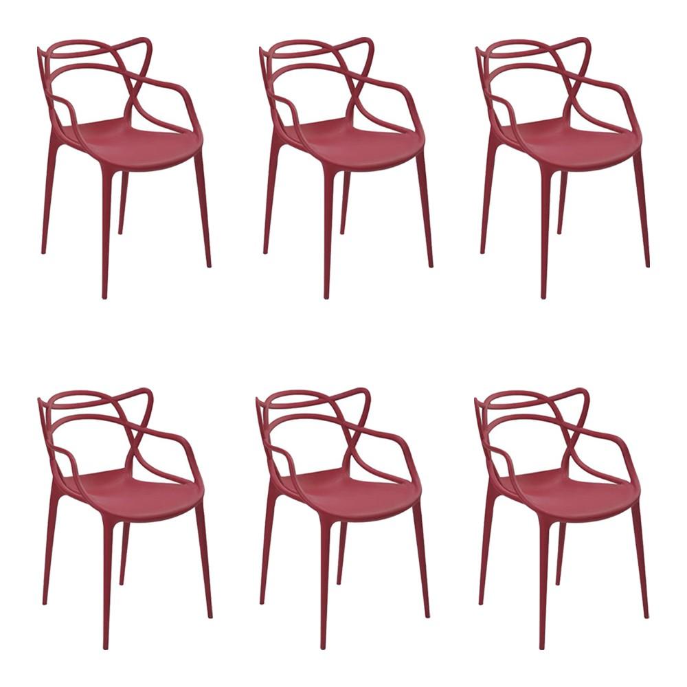 Kit 6 Cadeiras Decorativas Sala e Cozinha Feliti (PP) Cereja - Gran Belo