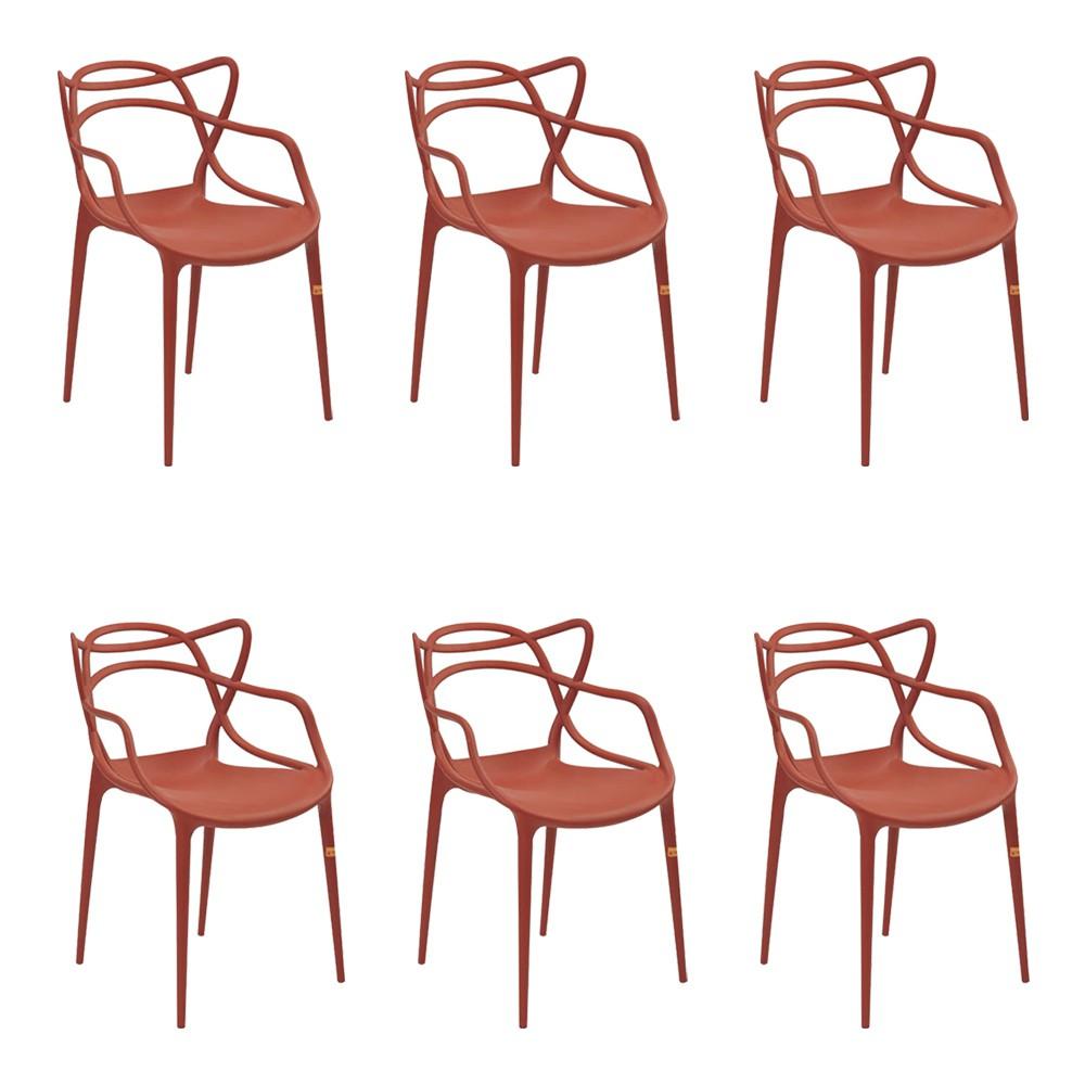 Kit 6 Cadeiras Decorativas Sala e Cozinha Feliti (PP) Laranja Telha - Gran Belo