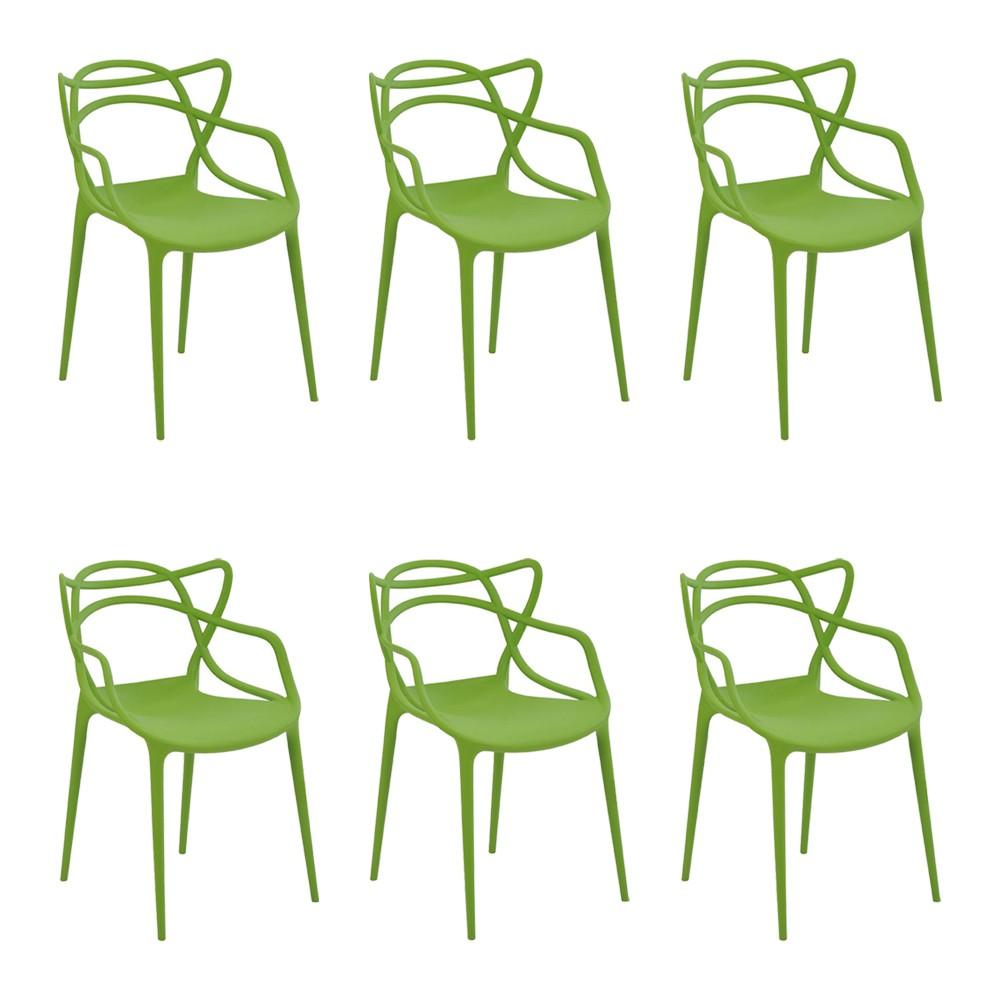 Kit 6 Cadeiras Decorativas Sala e Cozinha Feliti (PP) Verde - Gran Belo