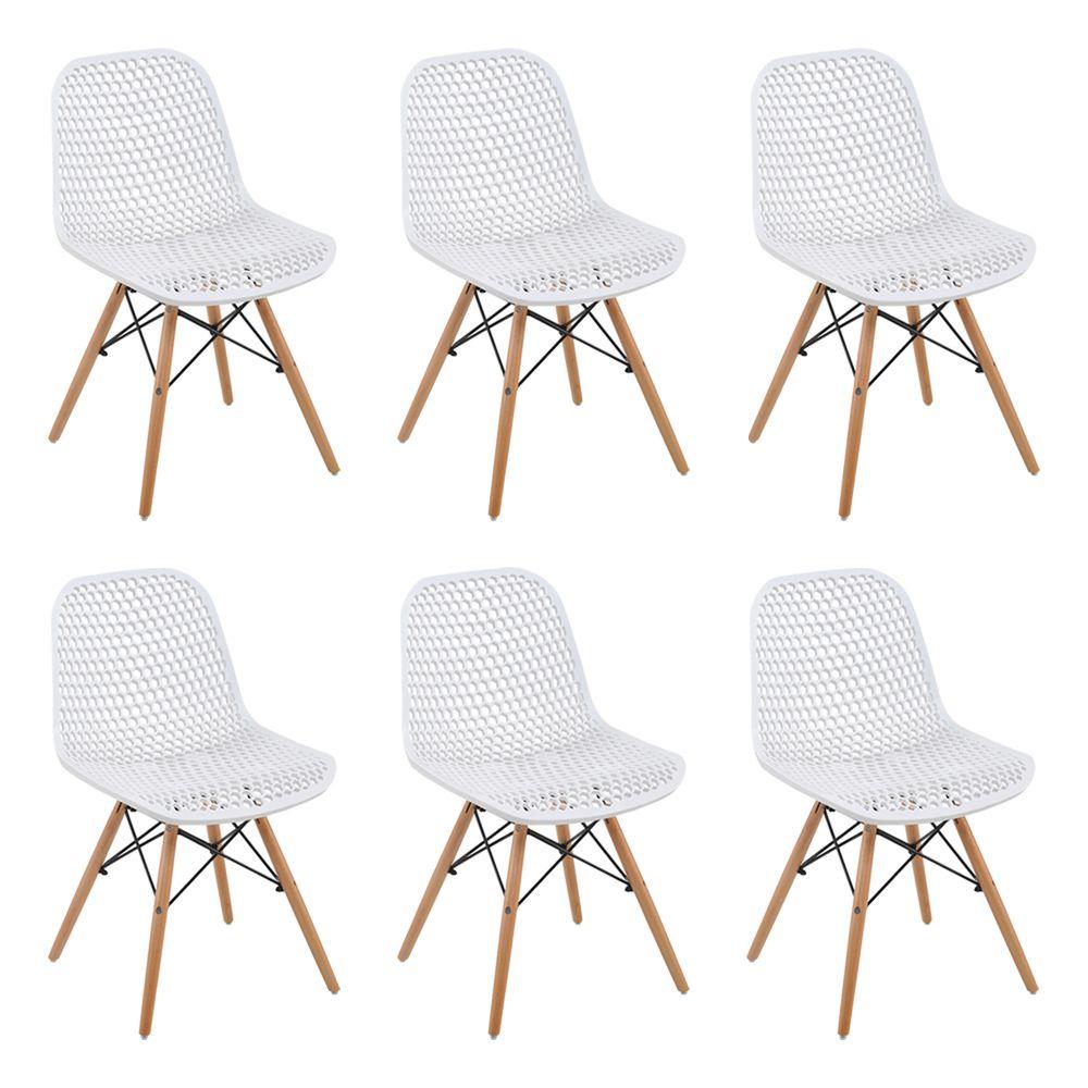 Kit 6 Cadeiras Decorativas Sala e Cozinha Haney (PP) Branca  – Gran Belo