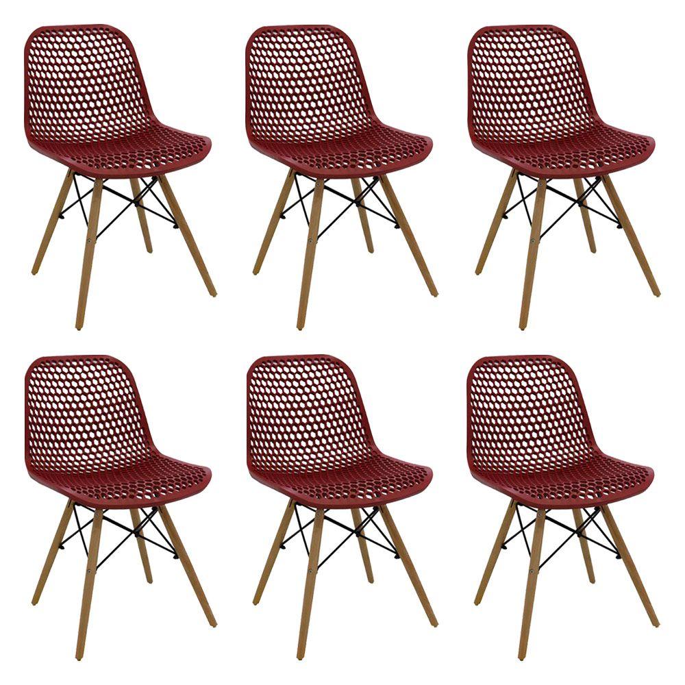 Kit 6 Cadeiras Decorativas Sala e Cozinha Haney (PP) Carmin – Gran Belo